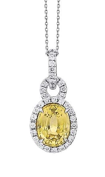 Yellow oval sapphire with diamond halo pendant