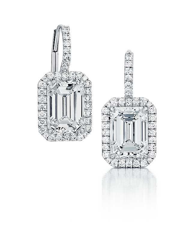 f760410c39396f Custom made Emerald Cut Diamond drop earrings