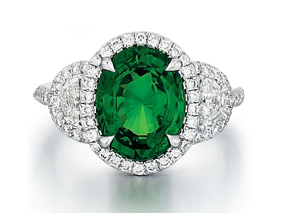 Custom Tsavorite ring with half moon diamonds