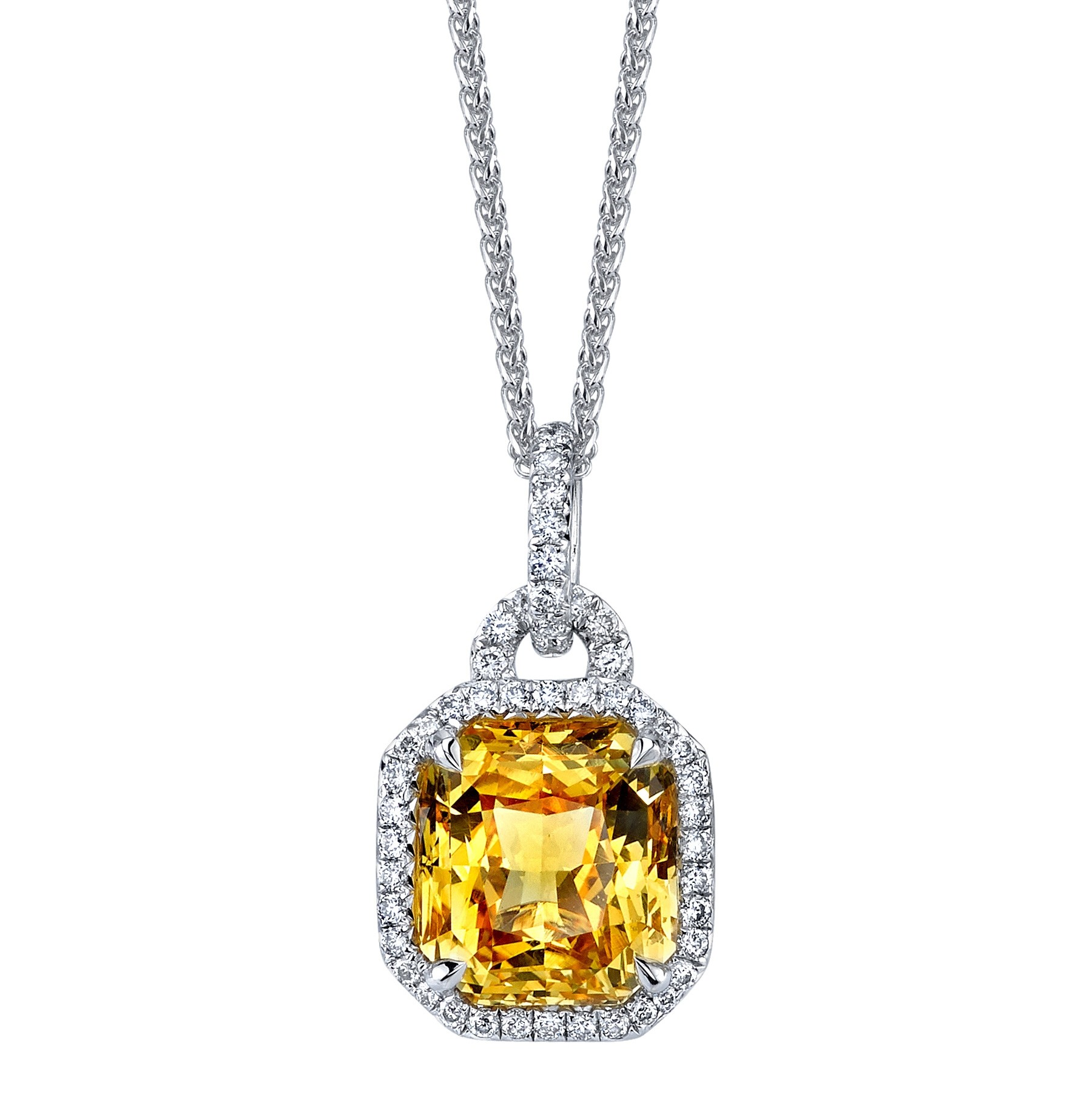 Yellow Sapphire Diamond Pendant