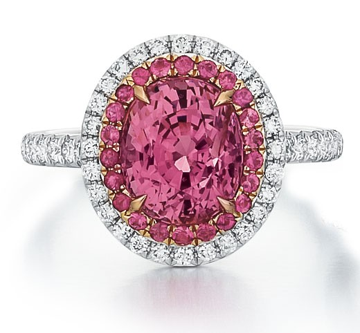 Style 123020 Diamontrigue Jewelry: Pink Spinel Halo Ring