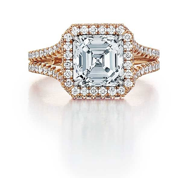Custom rose gold Asscher cut diamond engagement ring