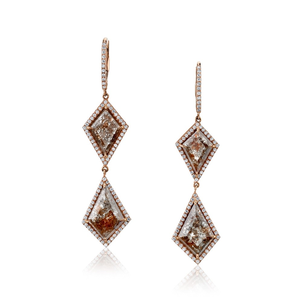 Rustic Diamond Drop Earrings