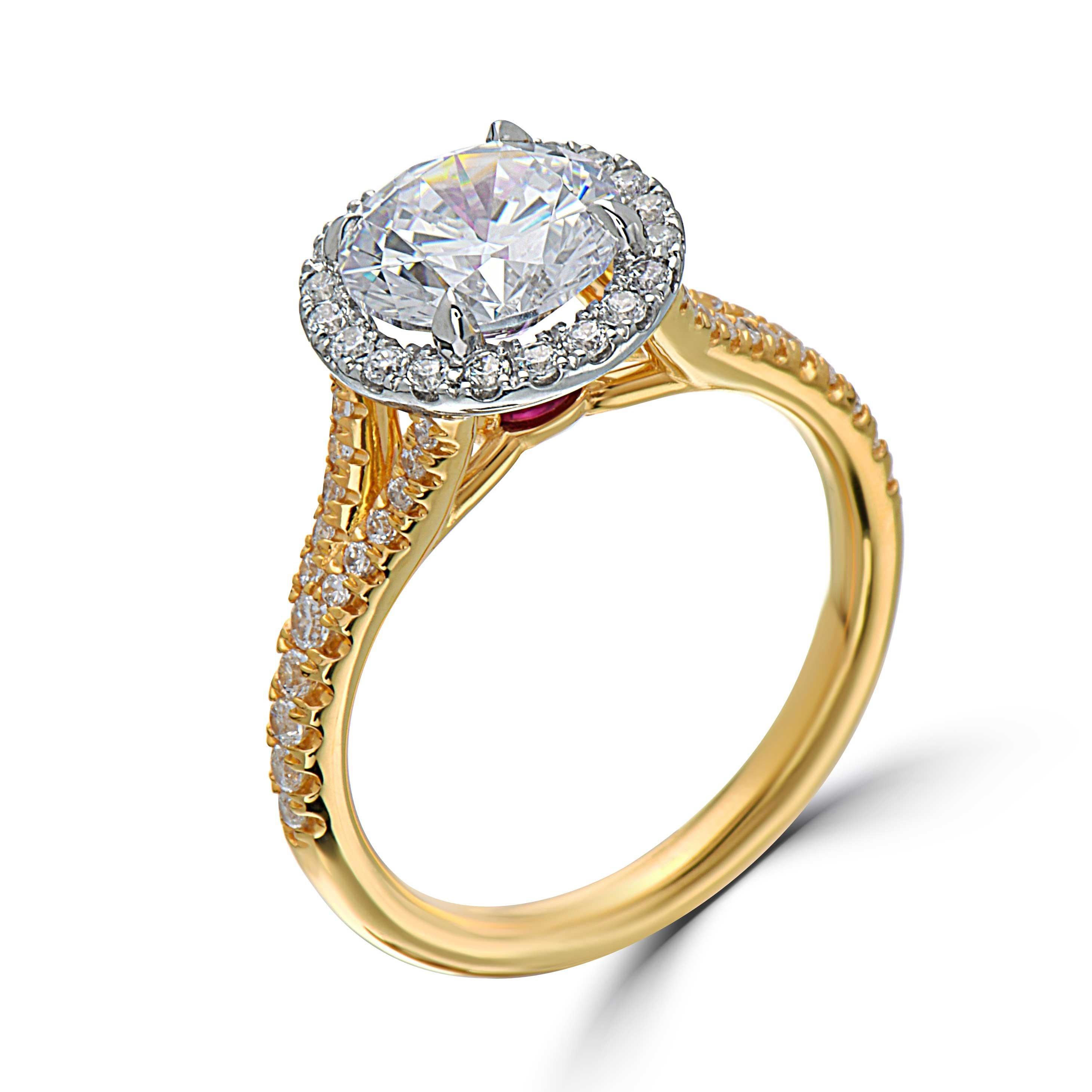 Yellow Gold Split Shank Halo Engagement Ring