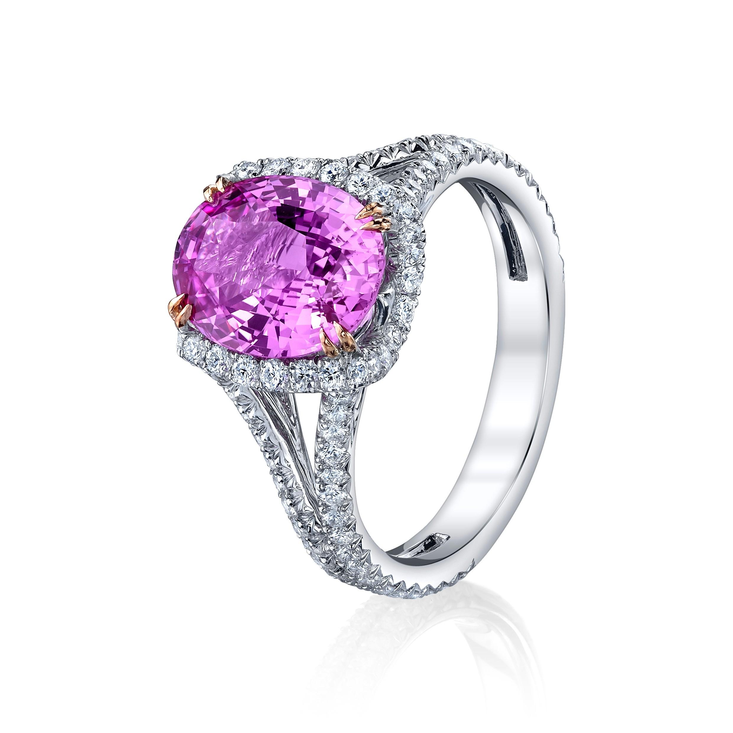 Pink Sapphire Split Shank Ring