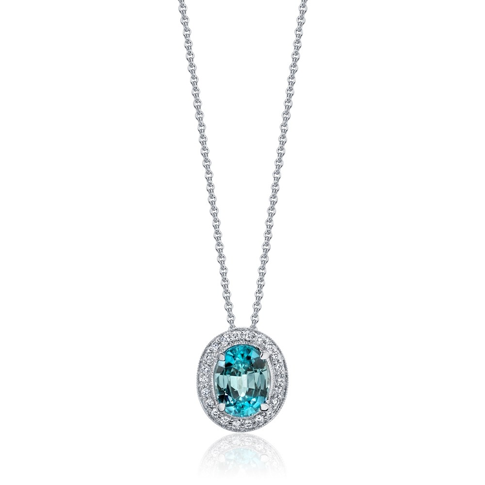 Blue Zircon Diamond Halo Pendant