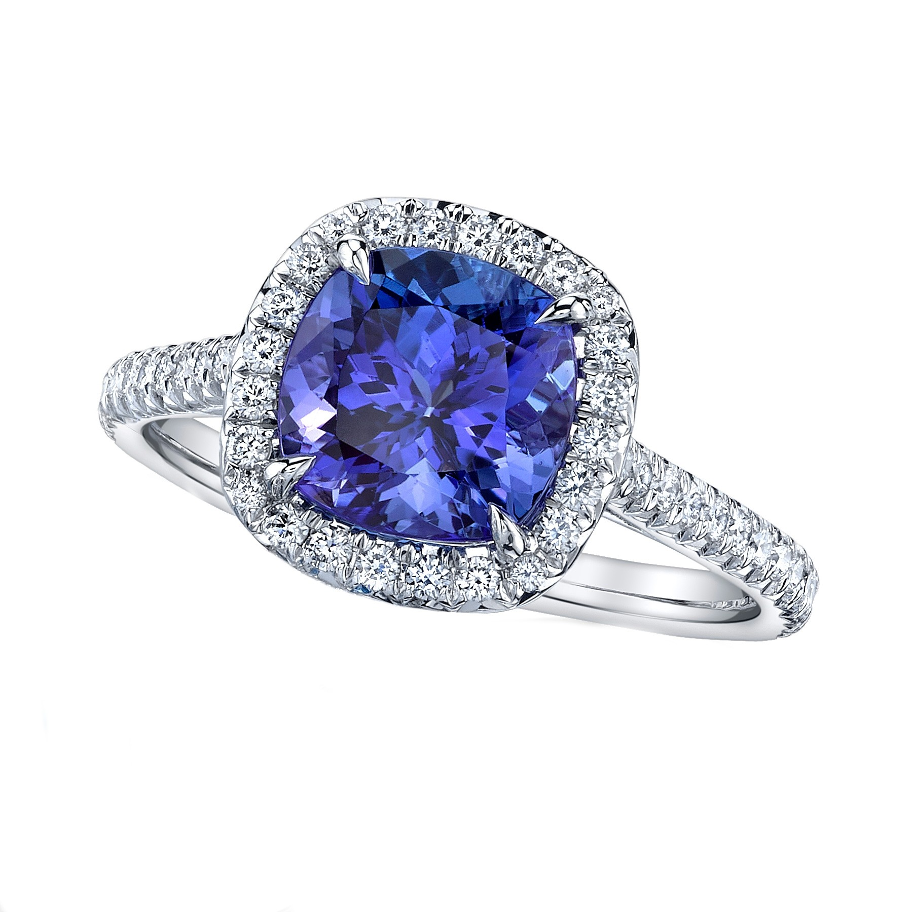 Tanzanite Cushion Halo Ring