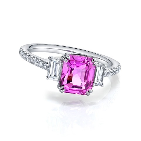 Emerald Cut Pink Sapphire Ring