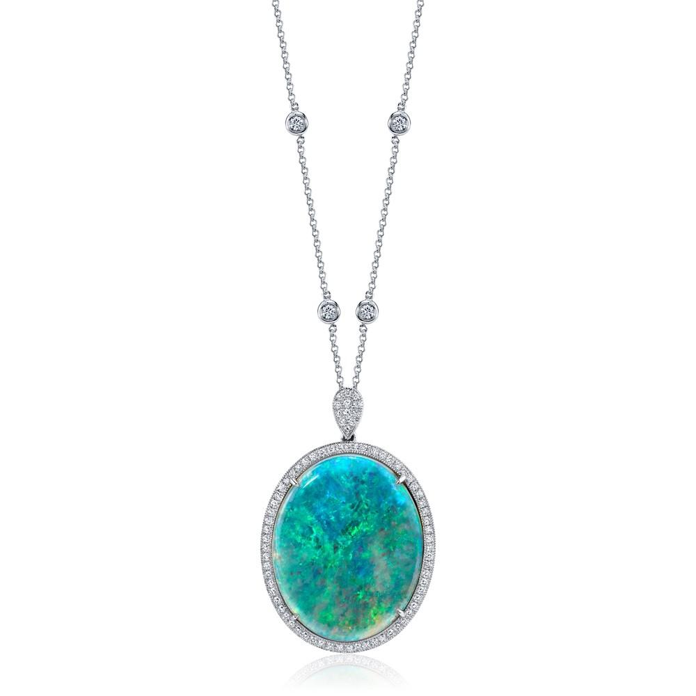 Opal Diamond Halo Pendant