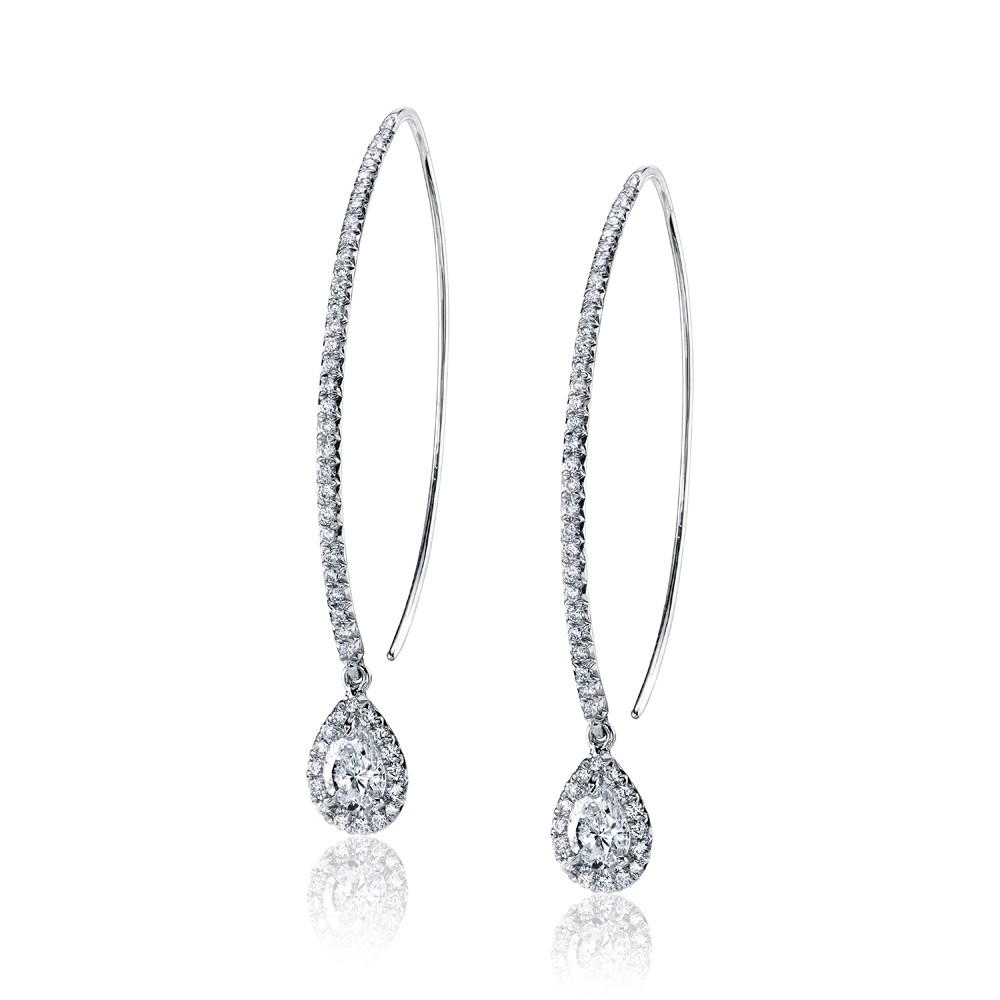 Pear Shape Diamond Drop Earrings