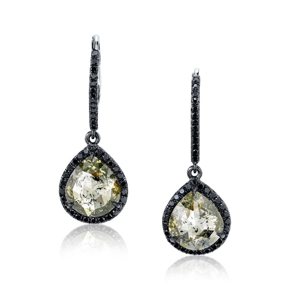 67257151eb6bb6 Rustic Diamond Drop Earrings. Zoom