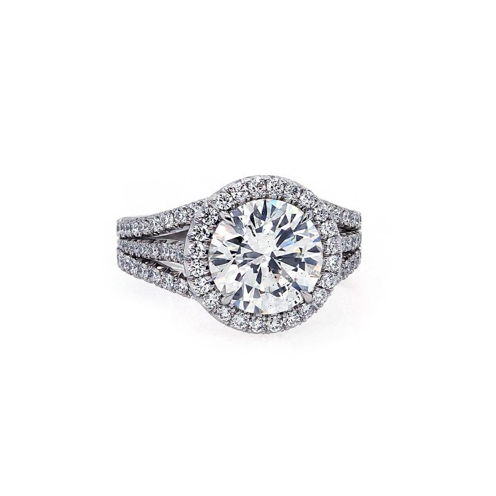 Triple Band Halo Engagement Ring