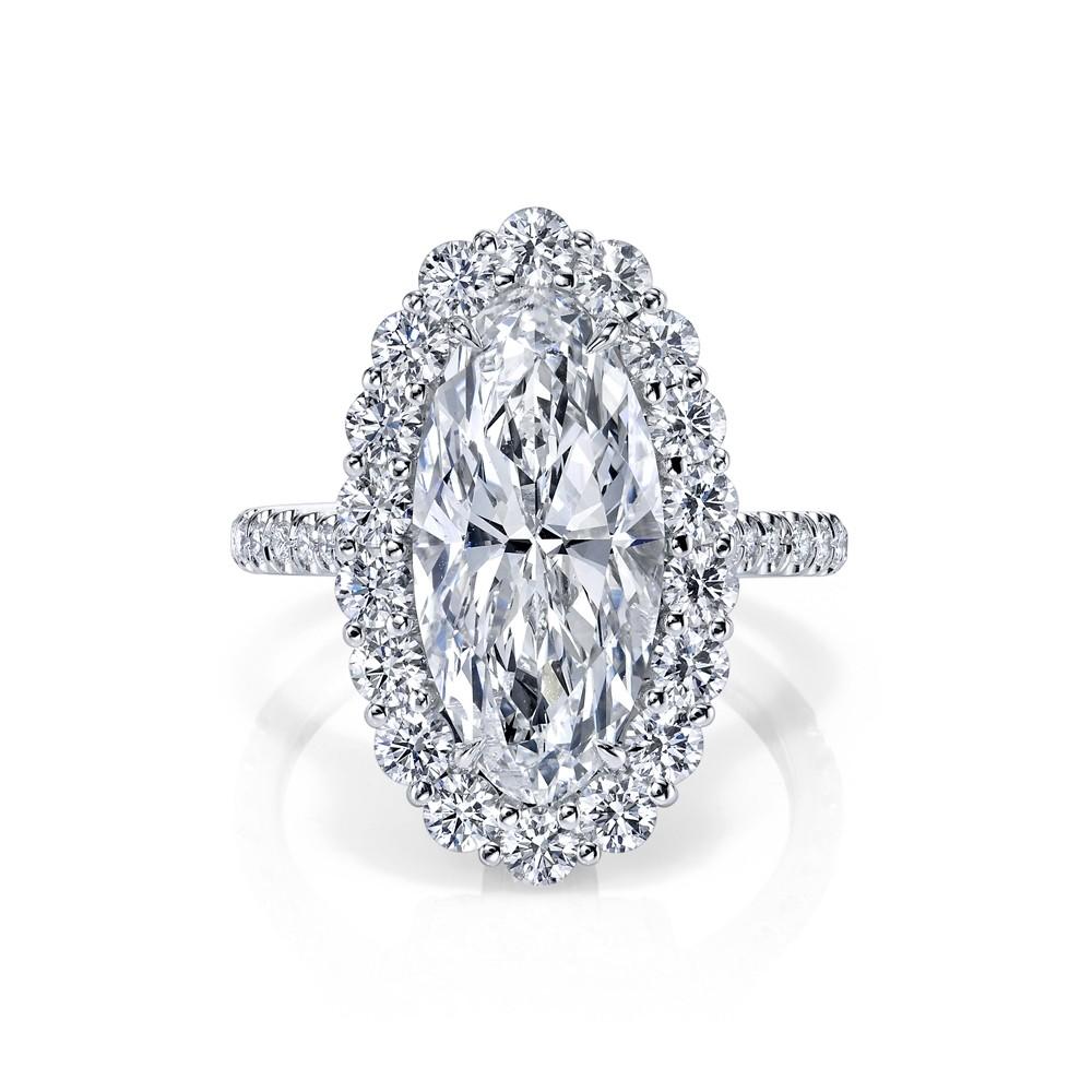 M'Oval Diamond Halo Engagement Ring