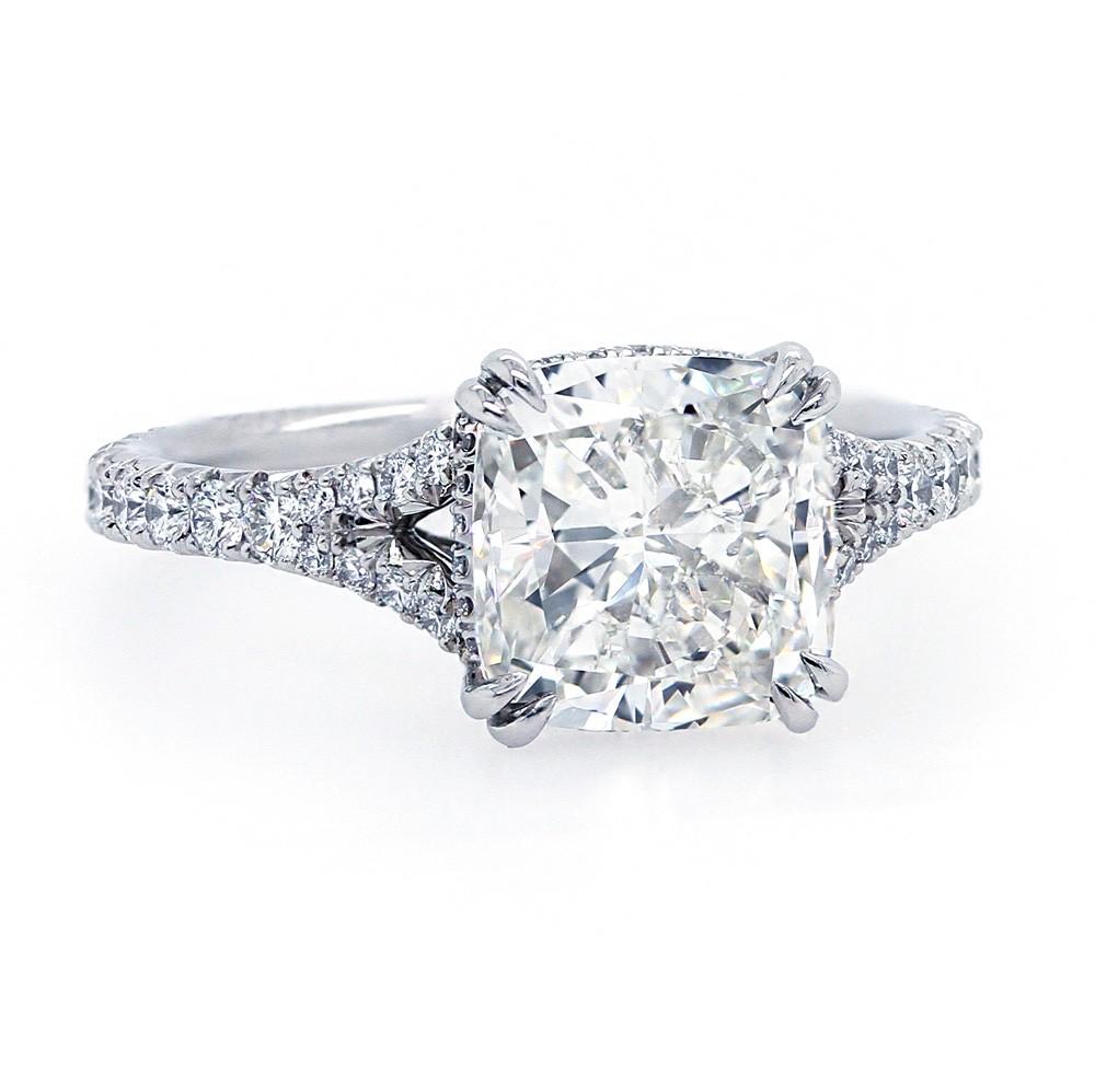 Cushion Cut Diamond Split Shank Engagement Ring