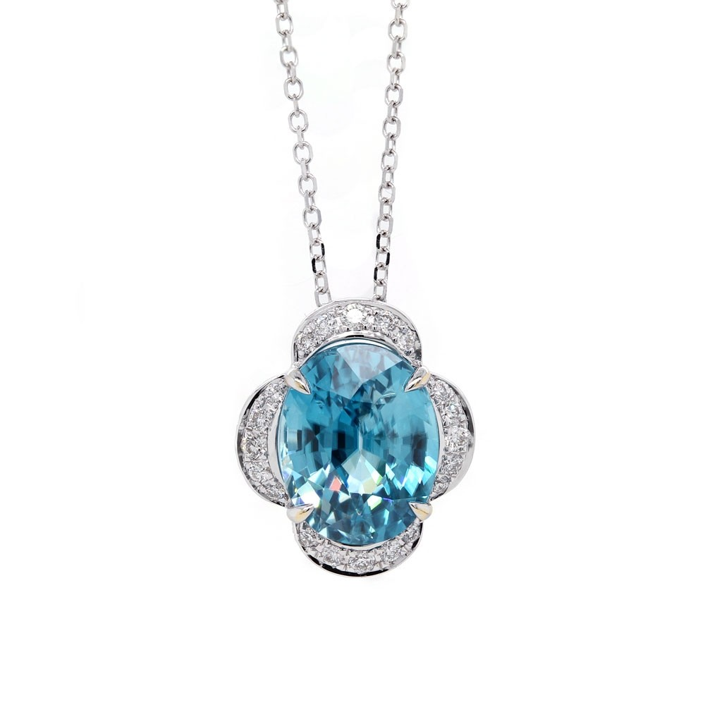 Blue Zircon Scalloped Halo Pendant