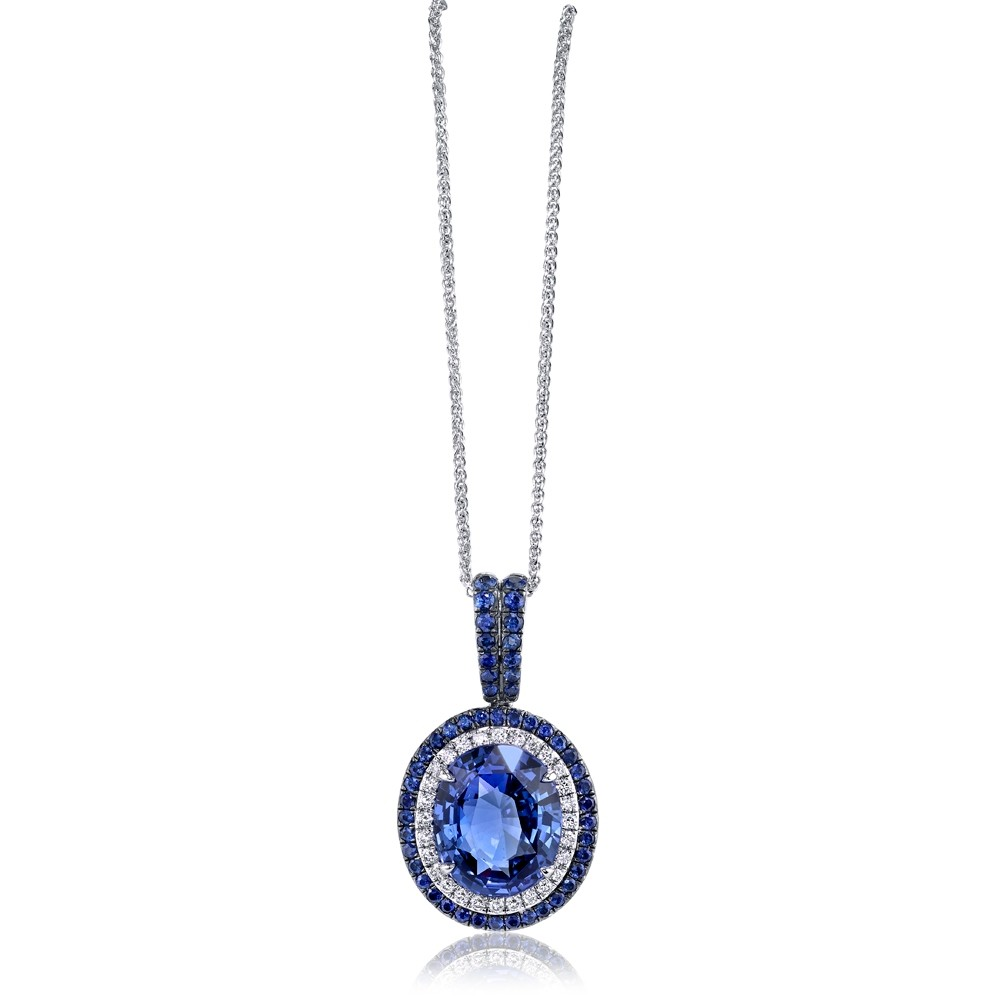 Sapphire Pendant with Sapphire Halo