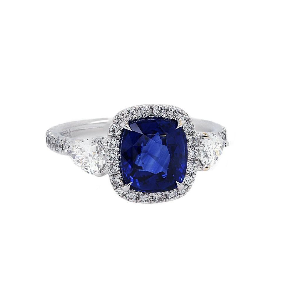 Cushion Sapphire Pear Diamond Engagement Ring