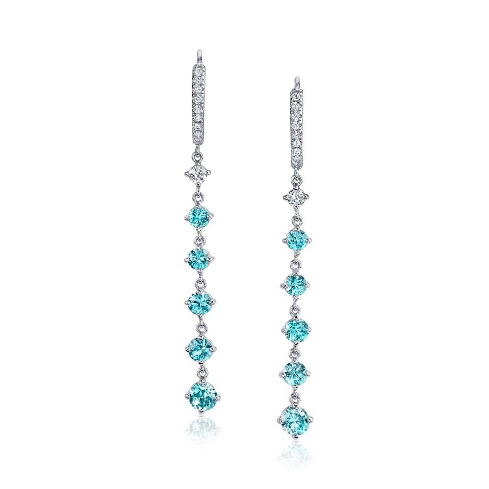 Blue Zircon Drop Earrings