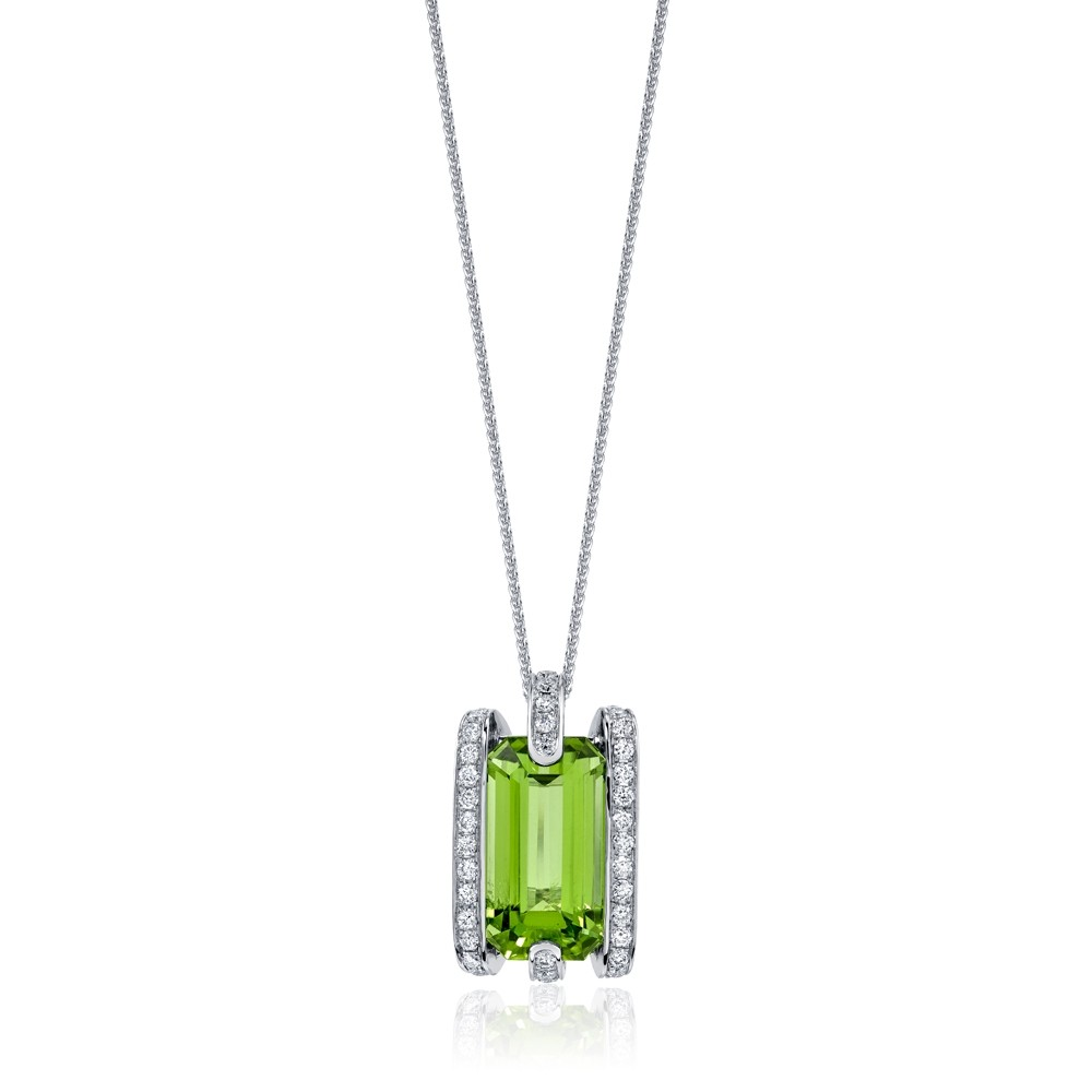 Peridot Pendant with Diamonds