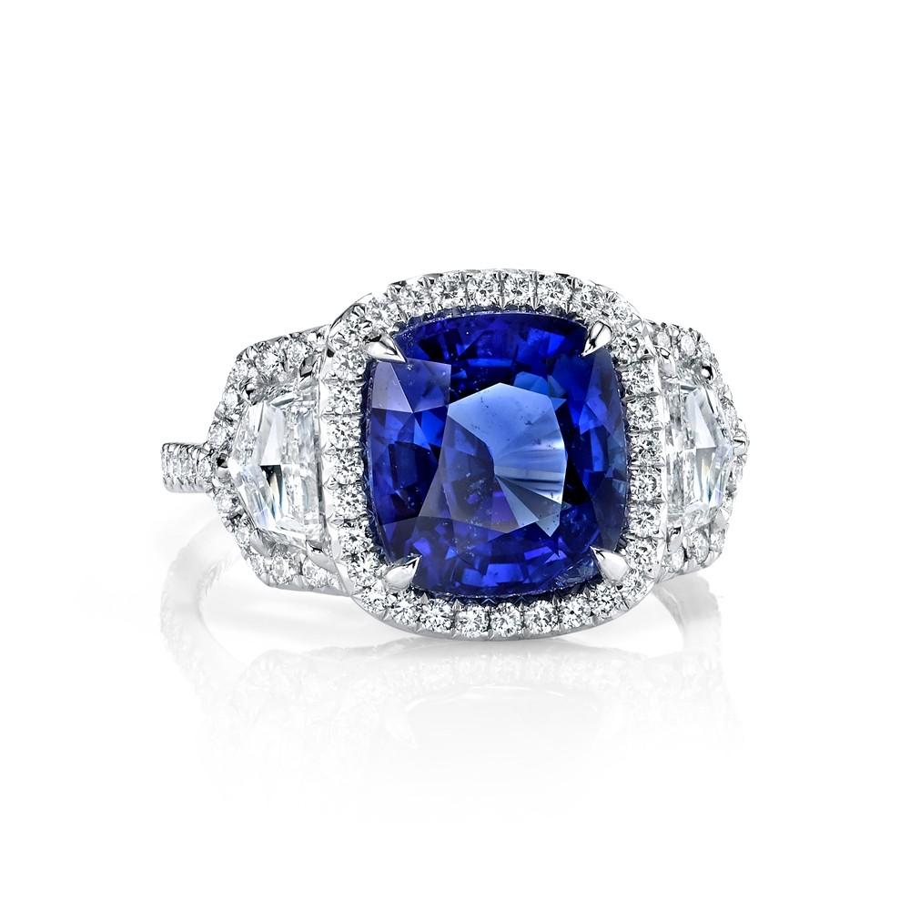 Cushion Sapphire Halo Ring