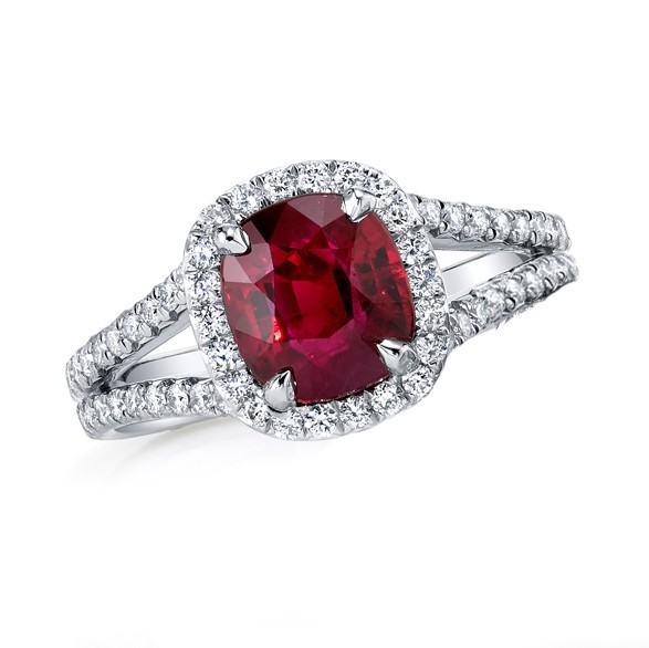 Ruby Halo Split Shank Ring