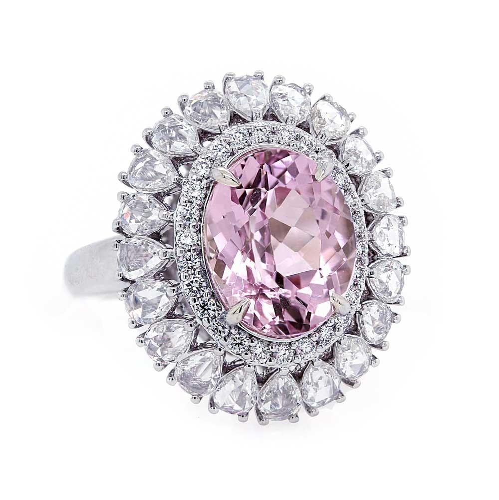 Kunzite Ring with Rose Cut Diamond Halo