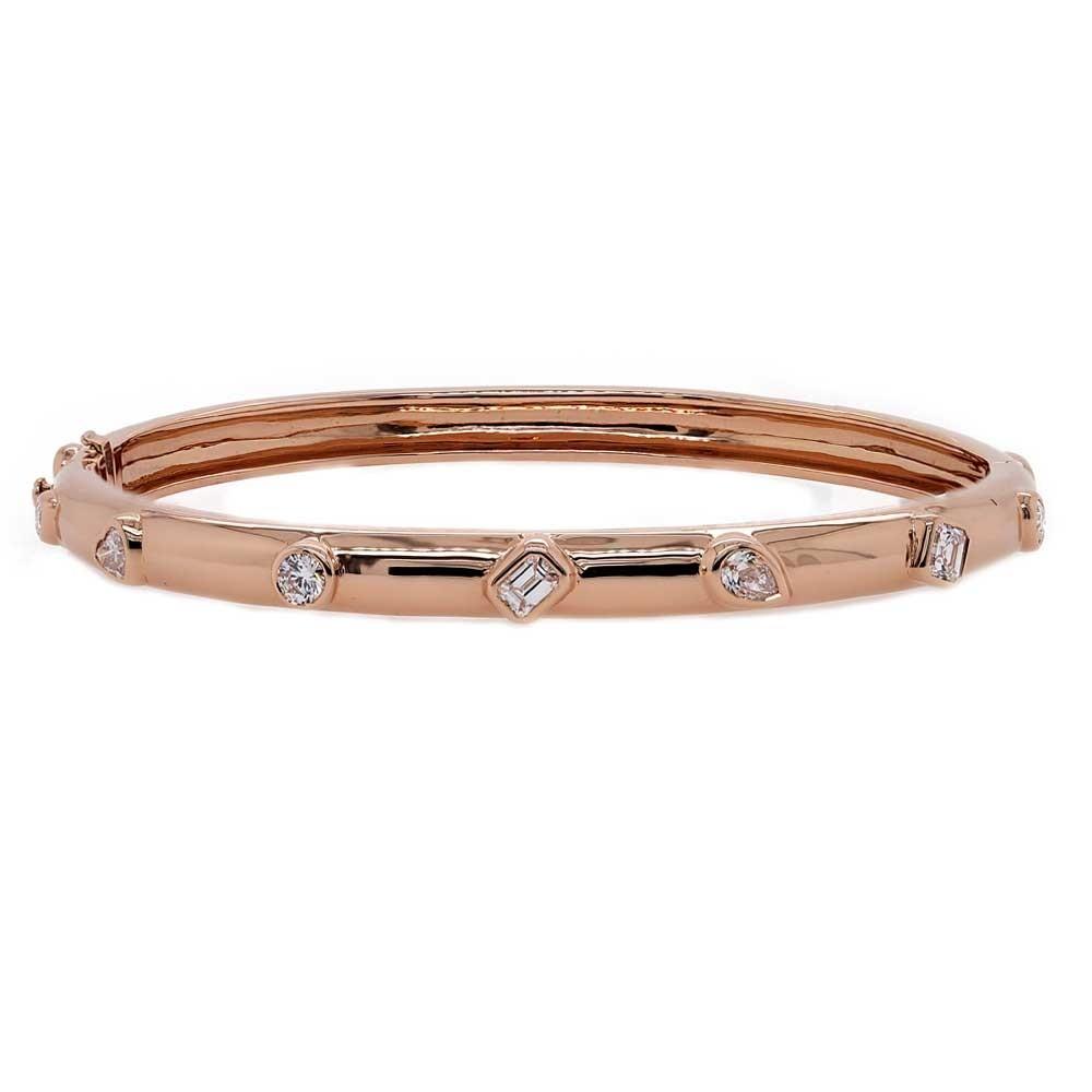 Rose Gold Bangle with Multi Shaped Diamonds
