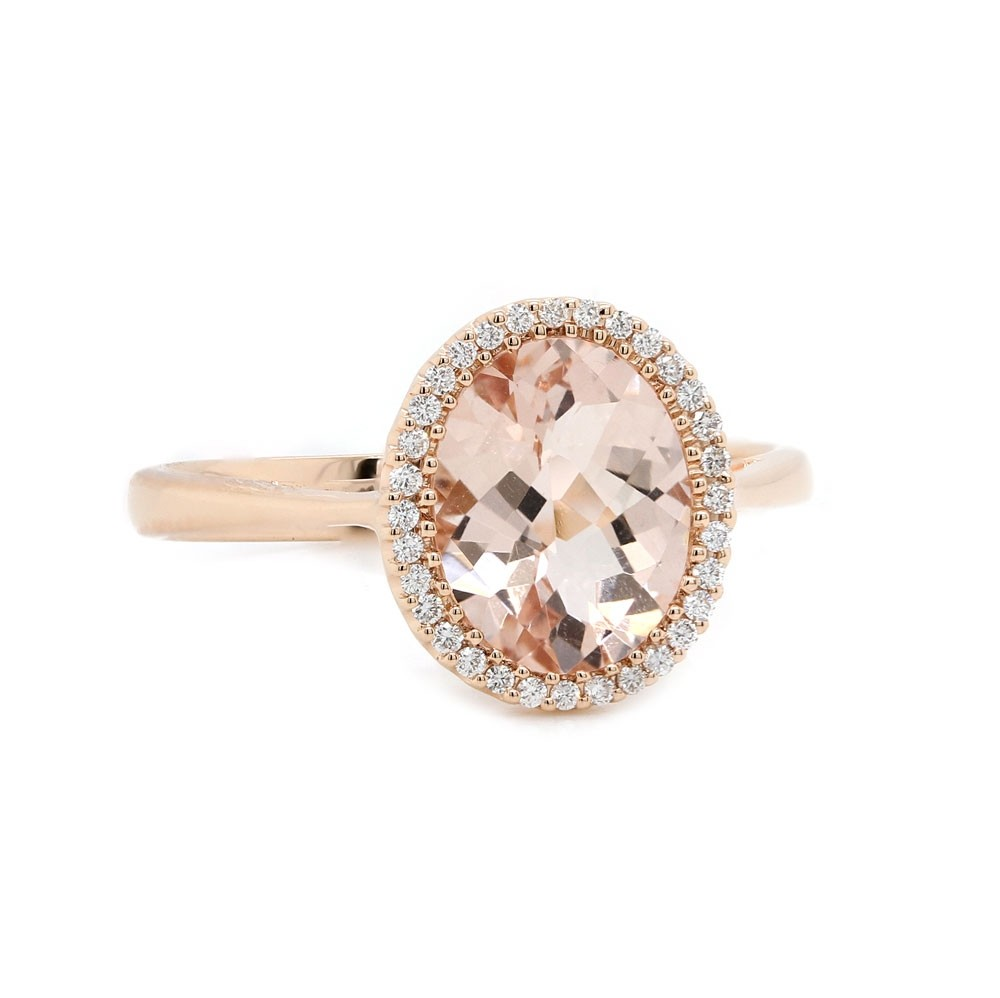 Peach Morganite Rose Gold Halo Ring