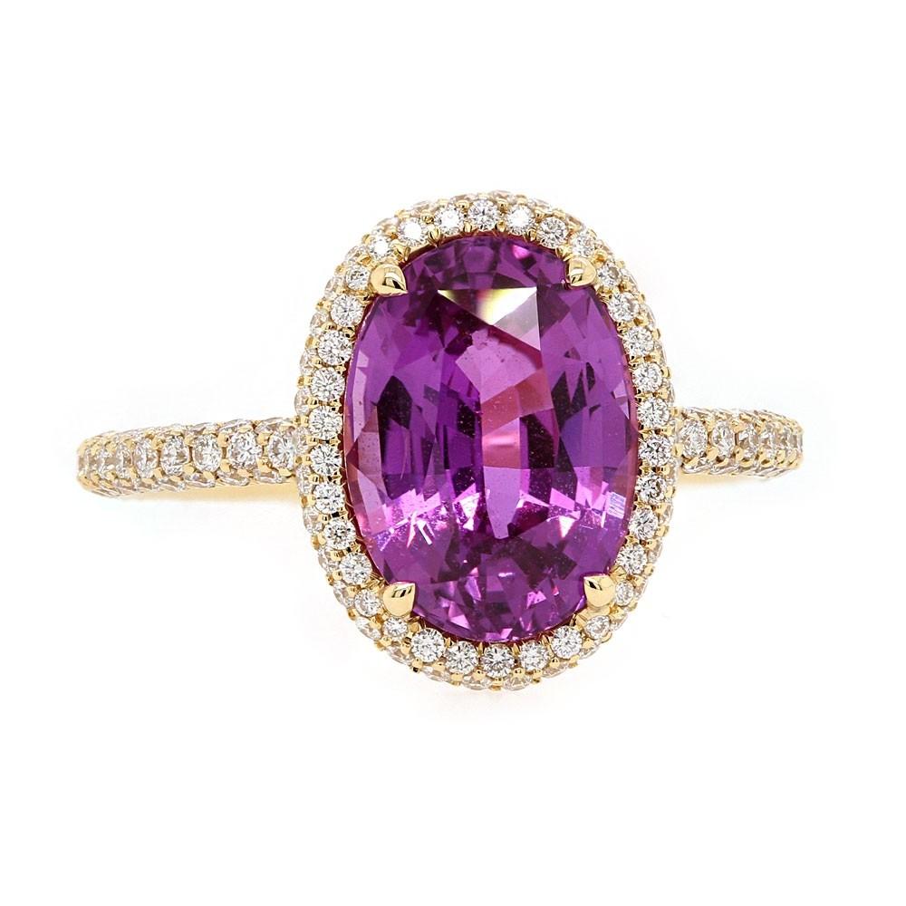 Unheated Purple Sapphire Halo Ring