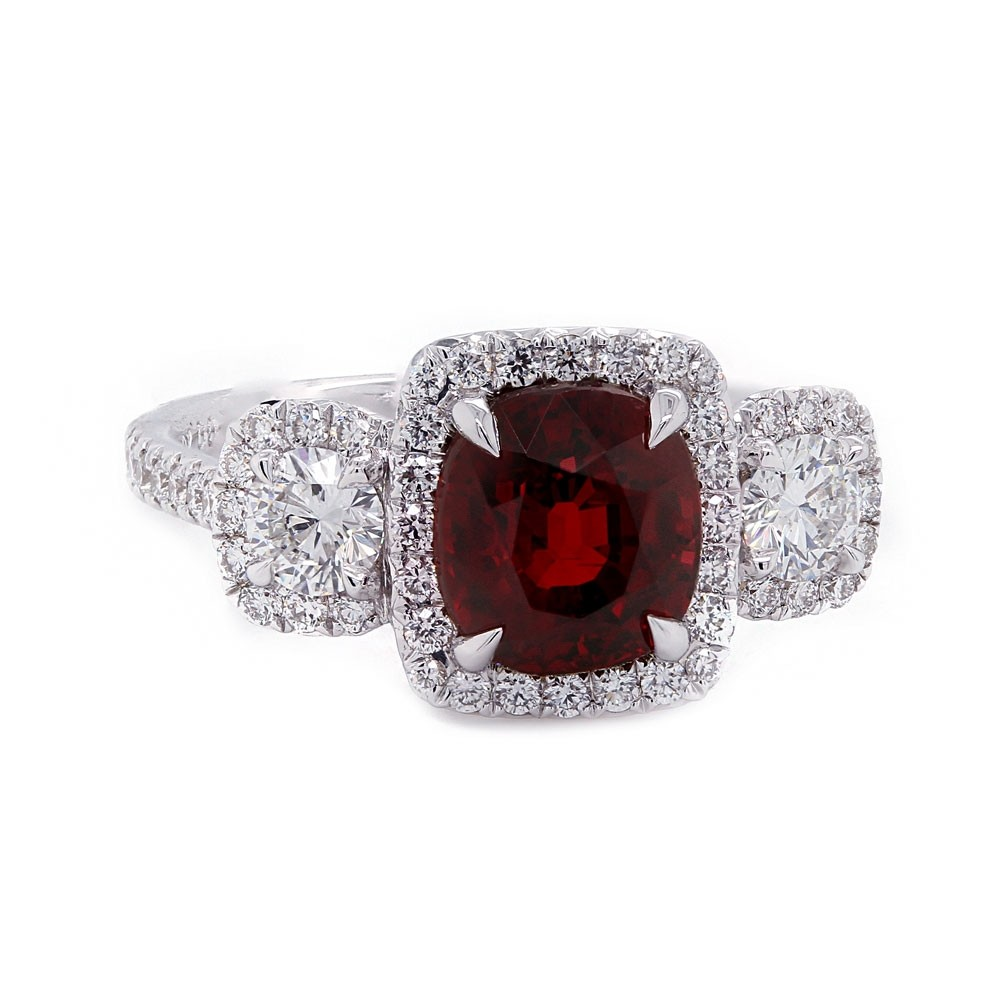 Ruby Diamond Halo Ring