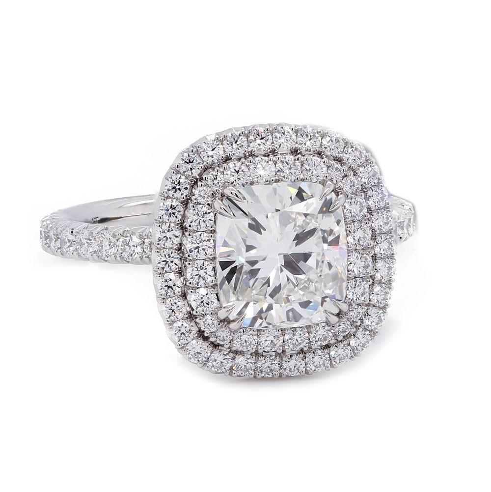 Cushion Cut Double Halo Diamond Engagement Ring
