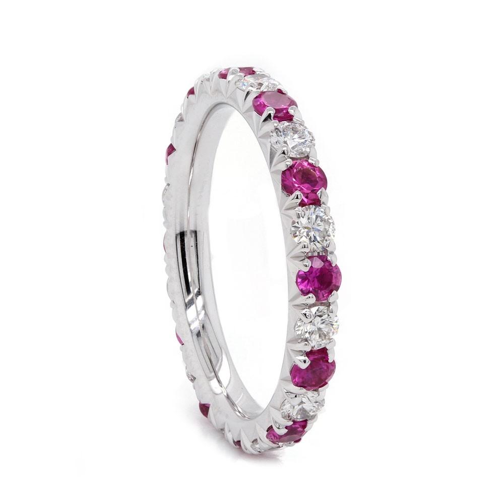 Pink Sapphire and Diamond Eternity Band