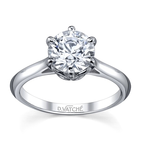 Vatche Swan six prong solitaire diamond ring