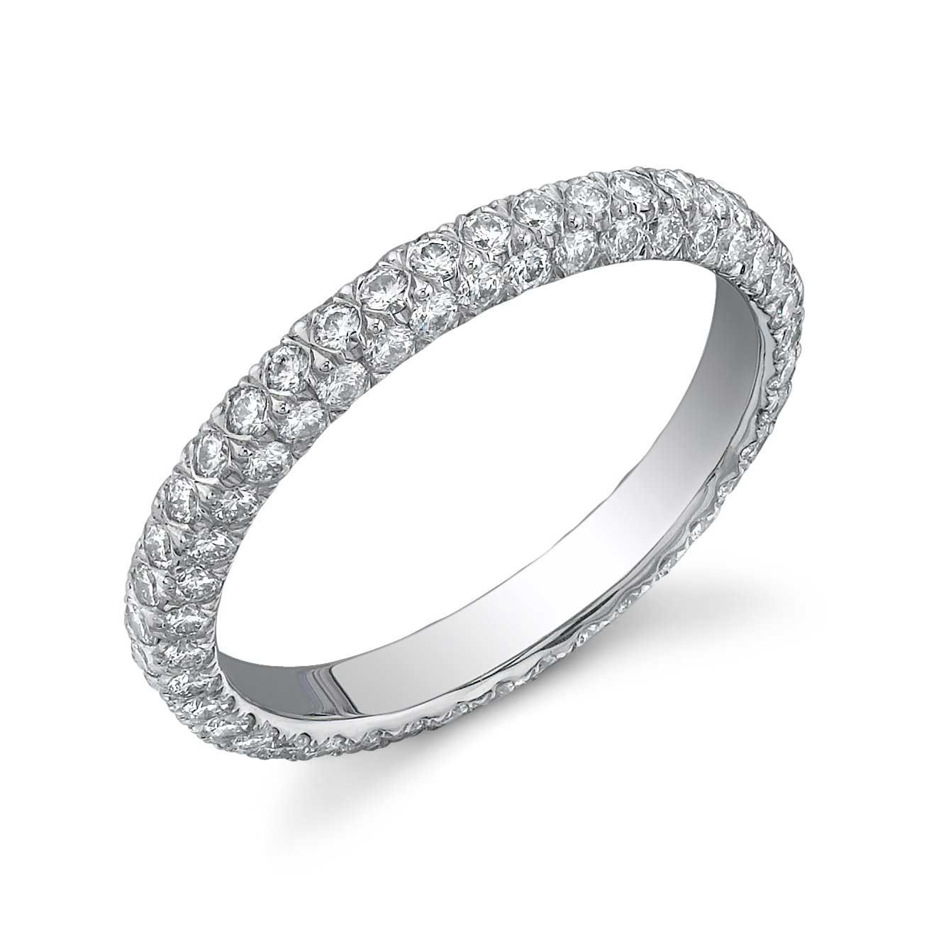 Custom three-sided pave' diamond eternity band