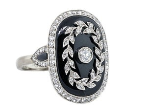 Vintage style black onyx and pave' diamond ring