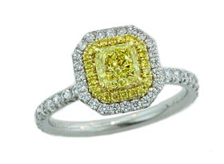 Fancy yellow radiant double pave' halo diamond ring