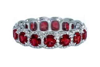 Custom ruby diamond pave' halo eternity band