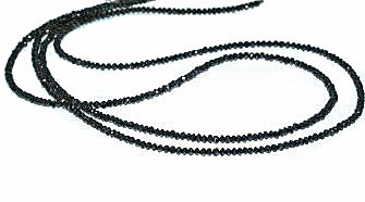 Black diamond bead necklace with white gold clasp