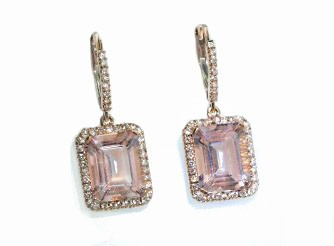 Emerald cut Morganite and pave' diamond earrings