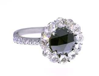 Rose cut black and white diamond ring