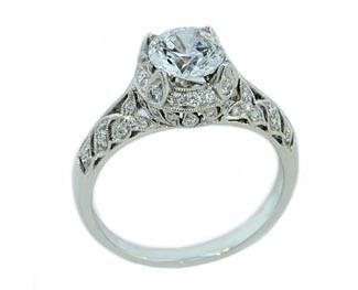 Vintage style floral pierced pave' diamond ring