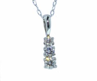 Classic three-stone diamond pendant