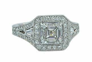 Custom asscher and baguette diamond pave' ring