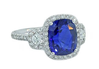 4.54ct cushion sapphire diamond pave halo ring