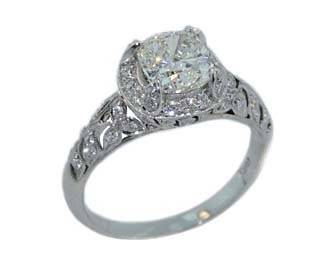 Vintage style pierced pave cushion ring