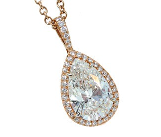 2.35ct pear diamond rose gold pave' halo pendant