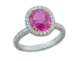 2.93ct oval pink sapphire pave diamond halo ring