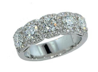 Five stone round diamond pave' halo band