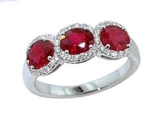 Three-stone 2.13ctw ruby pave' diamond halo band