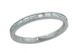 Baguette diamond milgrained edge band